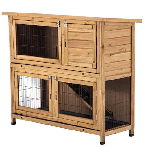 "48"" Wood Chicken Coop Hen House Rabbit Wood Hutch Poultry Cage"