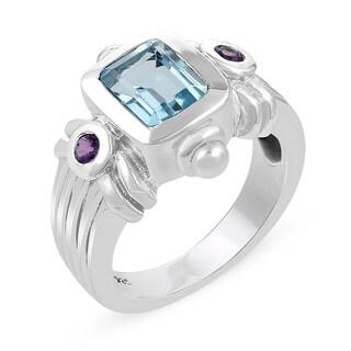2.92 Carat Genuine Blue Topaz Ring in .925 Sterling Silver