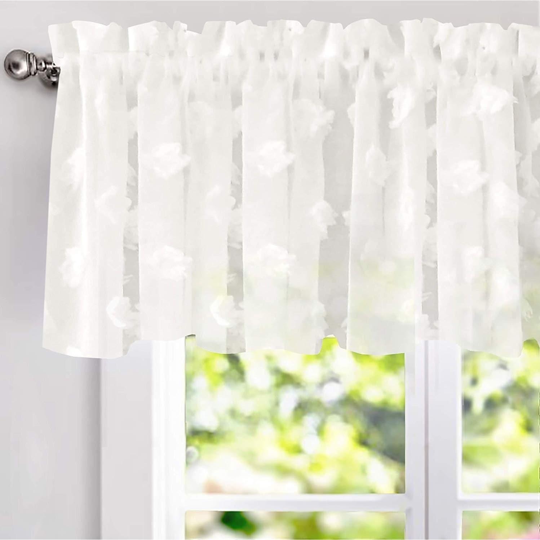 Driftaway Olivia White Voile Chiffon Sheer Window Curtain Valance 60 Wx18 L Overstock 26419774