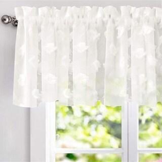 DriftAway Olivia White Voile Chiffon Sheer Window Curtain Valance