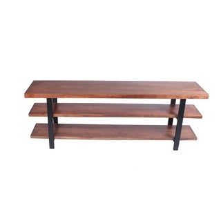Mango Wood and Iron Console Table With Three Shelves, Brown and Black