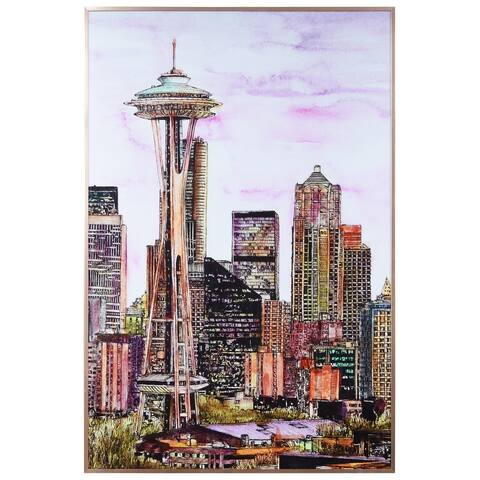 """Seattle's Skyline"" Glass Art Metal Rose Gold Frame Wall Art - Multi-color"