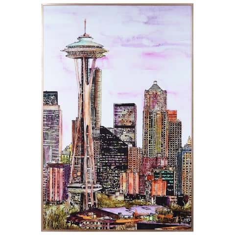 """Seattle's Skyline"" Glass Art Metal Rose Gold Frame Wall Art - Multi-color"