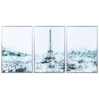 """Dame de Fer"" Triptych Glass Art Metal Silver Frame Wall Art - Multi-color"