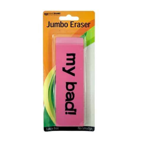 Bulk Buys Jumbo Oversized Rectangular Plastic Pink Eraser - 24 Pack