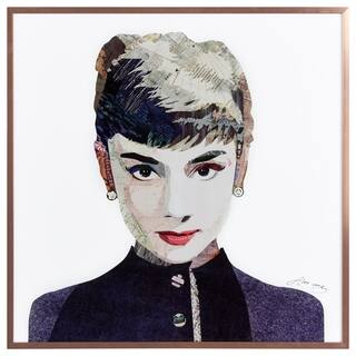"""Beautiful Audrey"" Glass Art Metal Rose Gold Frame Wall Art - Multi-color"