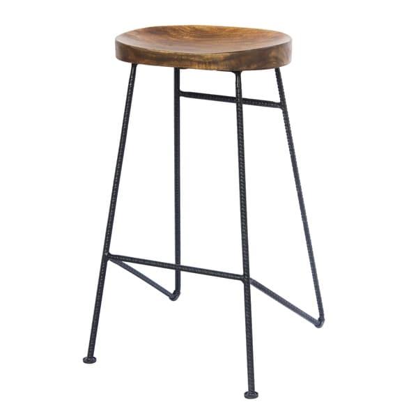 Shop Mango Wood Saddle Seat Bar Stool With Iron Rod Legs