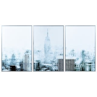 """""""Empire State"""" Triptych Glass Art Metal Silver Frame Wall Art - Multi-color"""