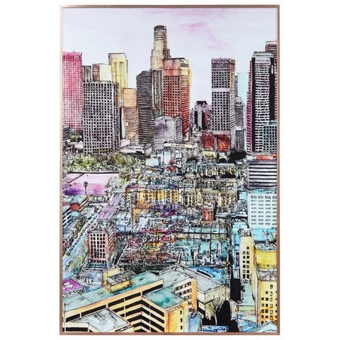 """City View"" Glass Art Metal Rose Gold Frame Wall Art - Multi-color"
