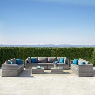 Havenside Home Wevok 12-piece Aluminum Patio Wicker Sectional Sofa Set with Cushions