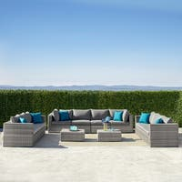 Corvus Tierney 12-Piece Aluminum Patio Wicker Sectional Sofa Set with Cushions