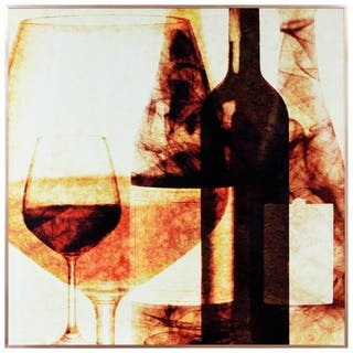 """Wine Bottles 1"" Glass Art Metal Rose Gold Frame Wall Art - Multi-color"