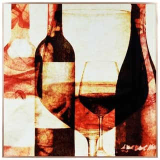 """Wine Bottles 2"" Glass Art Metal Rose Gold Frame Wall Art - Multi-color"