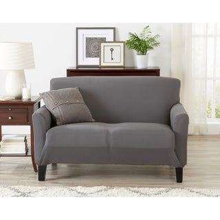 Seneca Collection Jersey Knit Strapless Loveseat Slipcover with Bonus Lint Roller