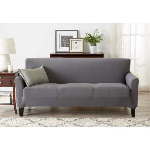 Porch & Den Mapleshire Jersey Knit Strapless Sofa Slipcover with Bonus Lint Roller