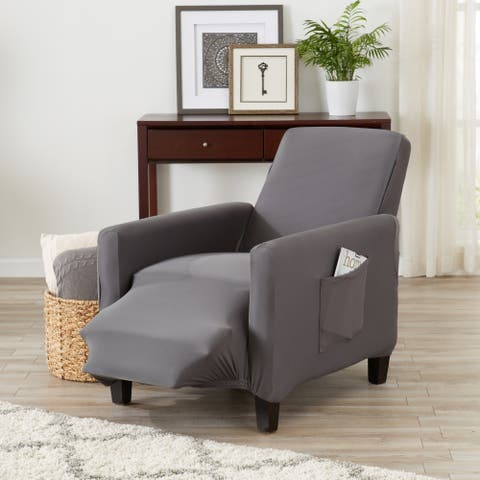Porch & Den Mapleshire Jersey Knit Strapless Recliner Slipcover with Bonus Lint Roller