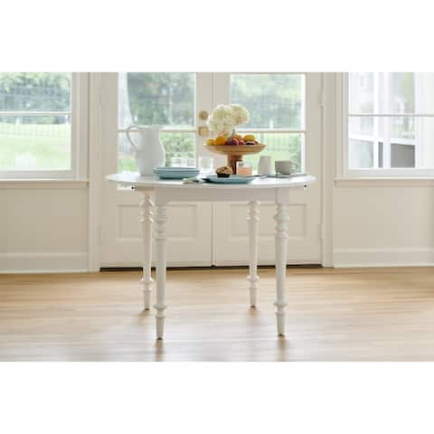Young House Love Dropleaf Table - White - 44 Inch Round