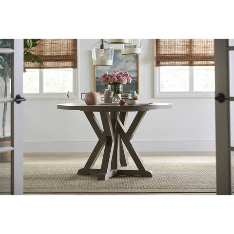 Young House Love Round Trestle Table - Beige