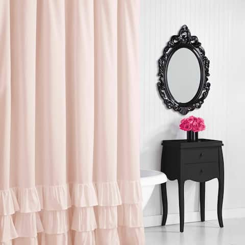 Betsey Johnson Solid Microfiber Shower Curtain
