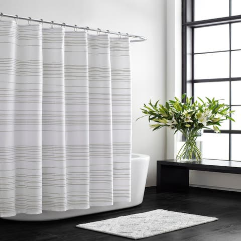 Vera Wang Irregular Stripe White Oat Shower Curtain