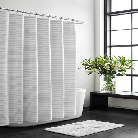 Vera Wang Textured Stripe White Shower Curtain