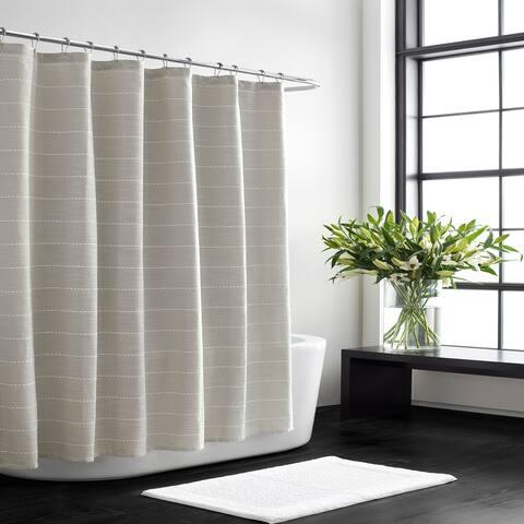 Vera Wang Slub Stripe Aquamarine Shower Curtain