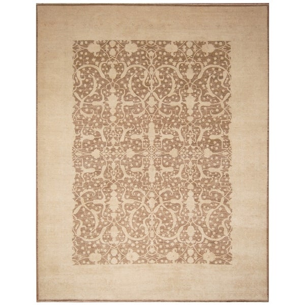 Handmade Vegetable Dye Oushak Wool Rug (Afghanistan) - 9' x 11'9