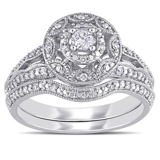 Miadora 10k White Gold 1/4ct TDW Diamond Vinatge Floral Halo Bridal Ring Set