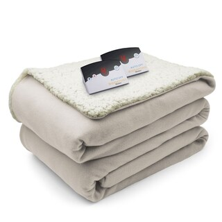 Biddeford Comfort Knit Fleece Sherpa Electric Heated Blanket King Natural