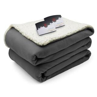 Biddeford Comfort Knit Fleece Sherpa Electric Heated Blanket King Gray