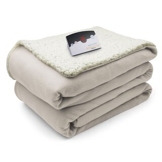 Biddeford Comfort Knit Fleece Sherpa Electric Heated Blanket Full Natural