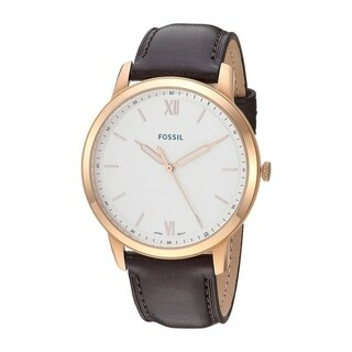 Fossil Men's FS5463 Minimalist Rose Gold Stainless Steel and Brown Leather Watch