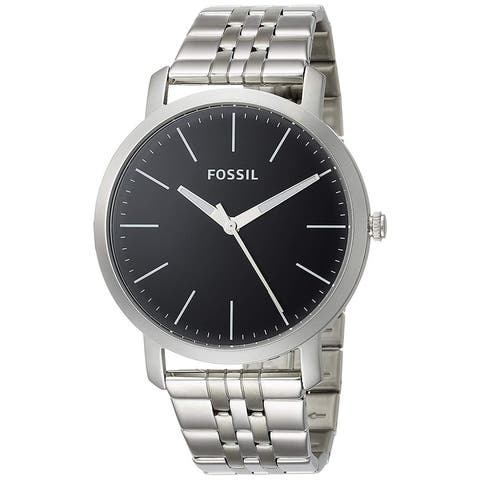 Fossil Men's Luther BQ2312 Silver-tone with Black Dial Stainless Steel One Size