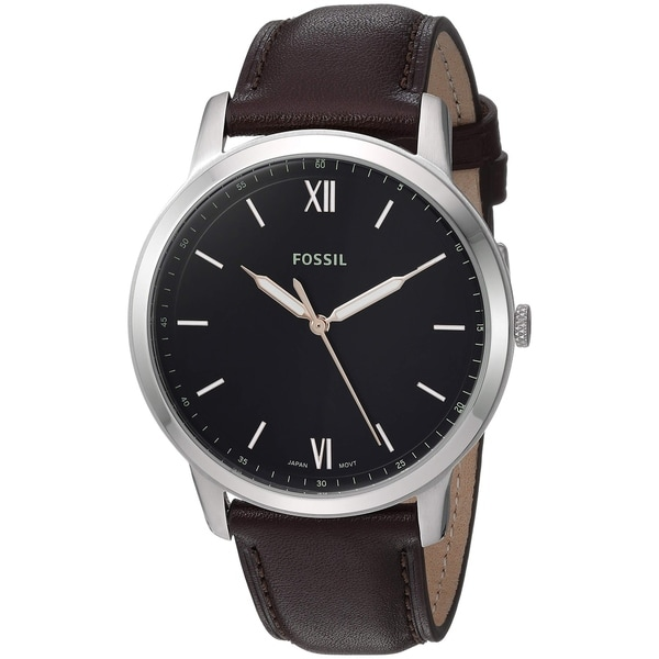 2d838960b2cc7e Shop Fossil Men's FS5464 Minimalist Silver Stainless Steel and Brown Leather  Watch - Free Shipping Today - Overstock - 26421239