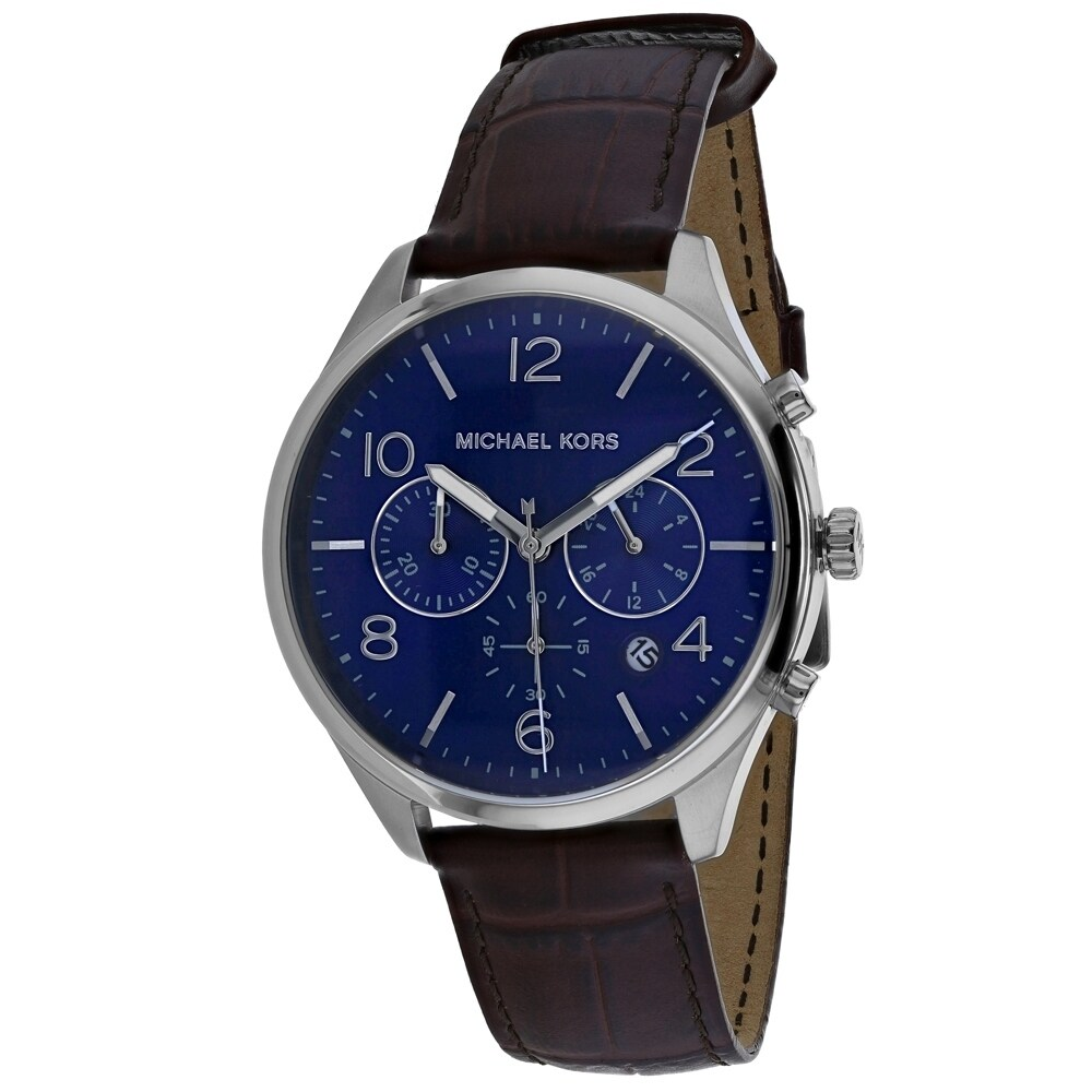 Michael Kors Mens MK8636 Merrick Silver Stainless Steel and Brown Leather Watch