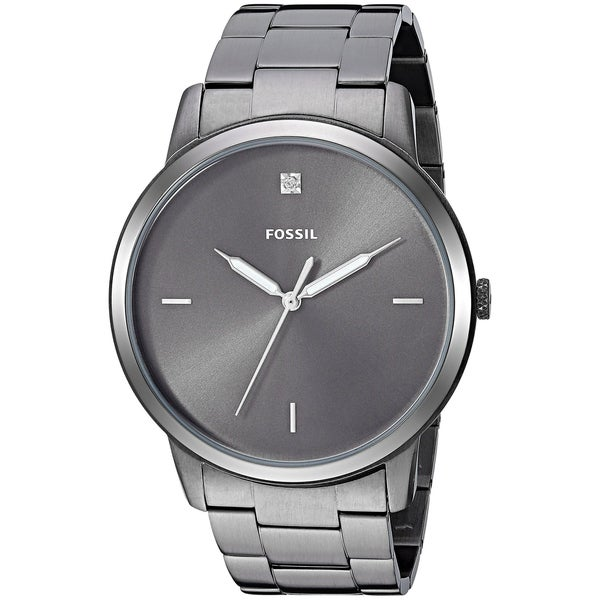 843914655 Shop Fossil Men's FS5456 'Minimalist' Grey Gunmetal Plated Stainless-Steel  Watch - Free Shipping Today - Overstock - 26421245