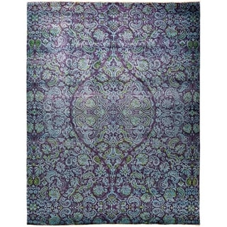 """Suzani, Hand Knotted Area Rug - 9' 1"""" x 11' 8"""" - 9'1"""" x 11'8"""""""