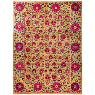 """Suzani, Hand Knotted Area Rug - 9' 1"""" x 12' 3"""" - 9'1"""" x 12'3"""""""