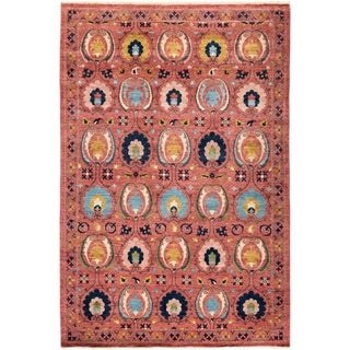 """Suzani, Hand Knotted Area Rug - 6' 3"""" x 9' 1"""" - 6'3"""" x 9'1"""""""