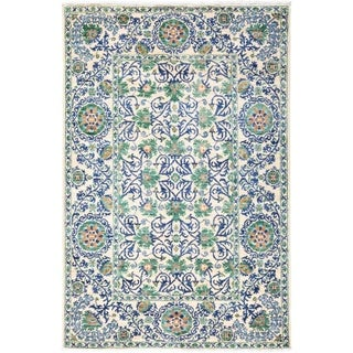 """Suzani, Hand Knotted Area Rug - 4' 1"""" x 6' 1"""" - 4'1"""" x 6'1""""/Surplus"""