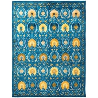 """Suzani, Hand Knotted Area Rug - 8' 1"""" x 10' 3"""" - 8'1"""" x 10'3"""""""