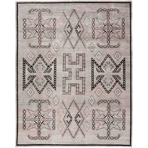 "African, Hand Knotted Area Rug - 7' 10"" x 9' 10"" - 7'10"" x 9'10"""