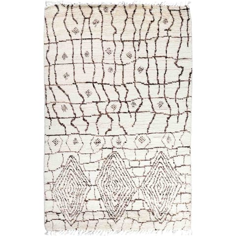 """Moroccan, One-of-a-Kind Handmade Area Rug - Ivory, 5' 2"""" x 8' 1"""" - 5'2"""" x 8'1""""/Surplus"""