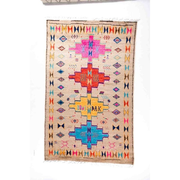 """Moroccan, Hand Knotted Area Rug - 6' 1"""" x 9' 6"""" - 6'1"""" x 9'6"""""""