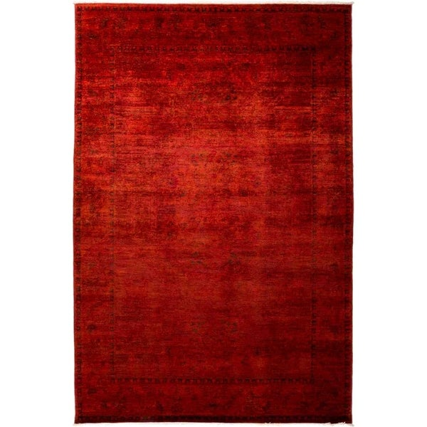 """Vibrance, Hand Knotted Area Rug - 6' 1"""" x 9' 3"""" - 6'1"""" x 9'3""""/Surplus"""