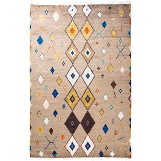 """Moroccan, Hand Knotted Area Rug - 6' 2"""" x 9' 1"""" - 6'2"""" x 9'1"""""""