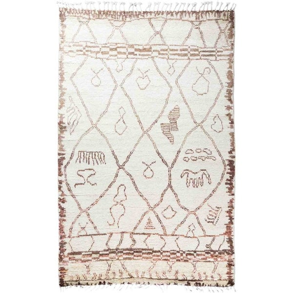 """Moroccan, Hand Knotted Area Rug - 5' 3"""" x 8' 2"""" - 5'3"""" x 8'2"""""""