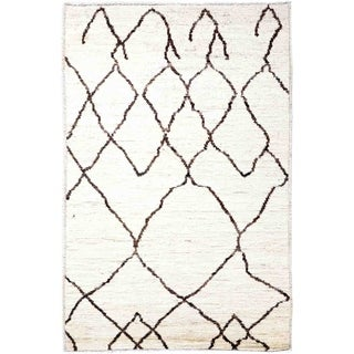"""Moroccan, Hand Knotted Area Rug - 3' 4"""" x 5' 0"""" - 3'4"""" x 5'"""