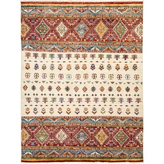 """Tribal, Hand Knotted Area Rug - 5' 2"""" x 6' 9"""" - 5'2"""" x 6'9"""""""