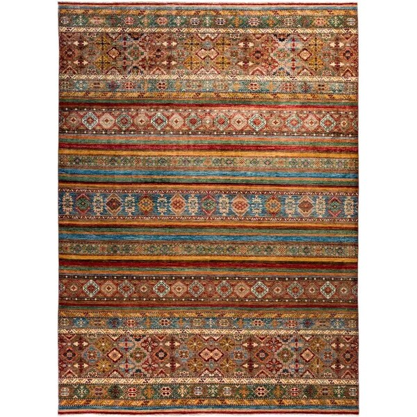 """Tribal, Hand Knotted Area Rug - 8' 10"""" x 12' 2"""" - 8'10"""" x 12'2"""""""